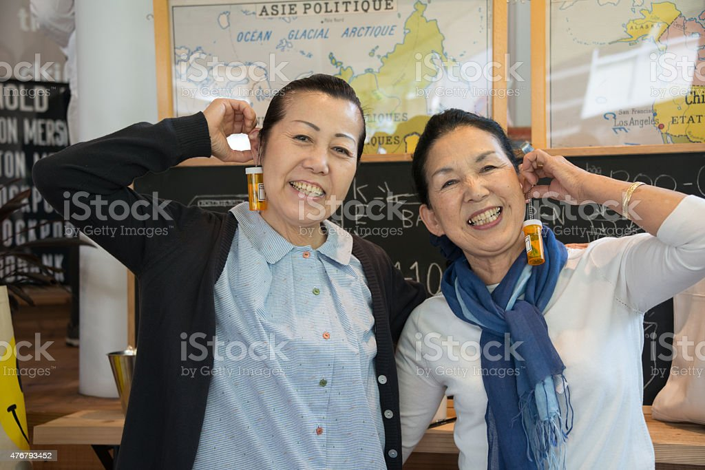Japanese senior women in a cafe royalty-free stock photo