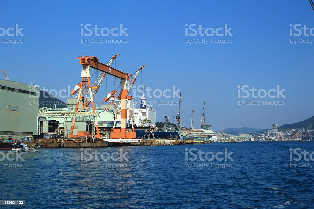 Japanese shipyard of the world industrial heritage of Nagasaki stock photo