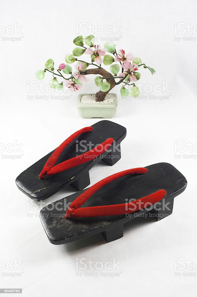 Japanese Shoes and Bonsai Tree royalty-free stock photo
