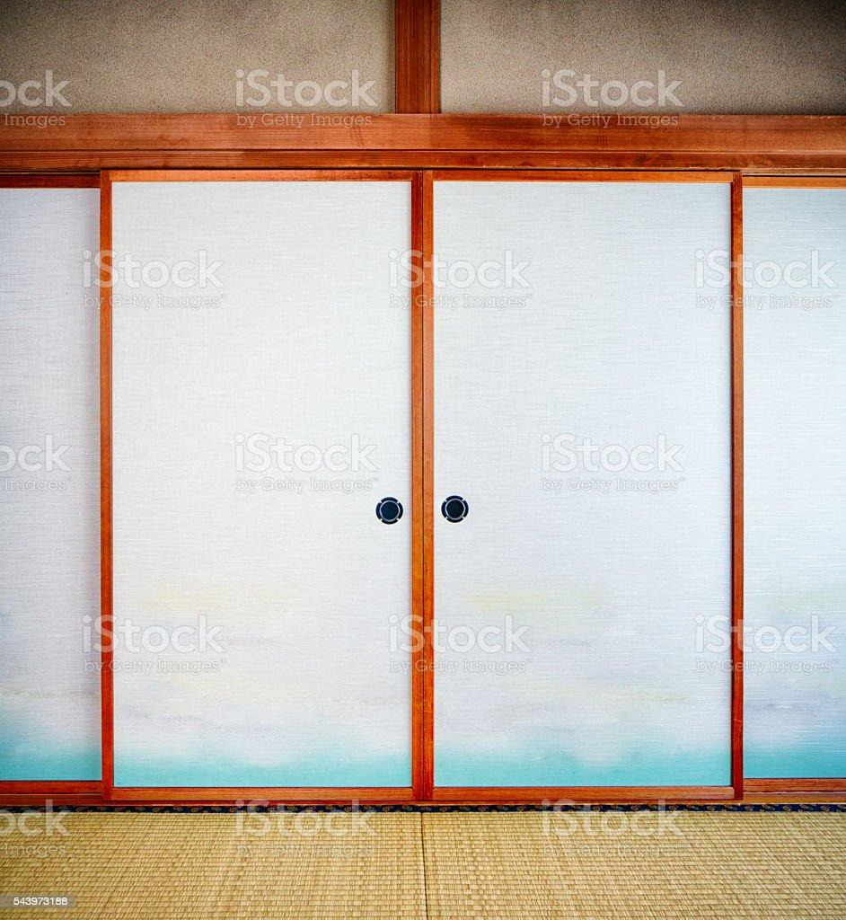 Japanese shoji paper doors stock photo