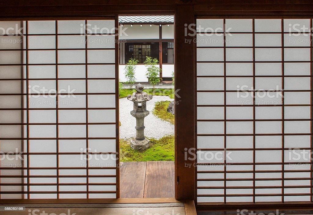 Japanese  shoji washi paper door at Chionji temple kyoto japan stock photo