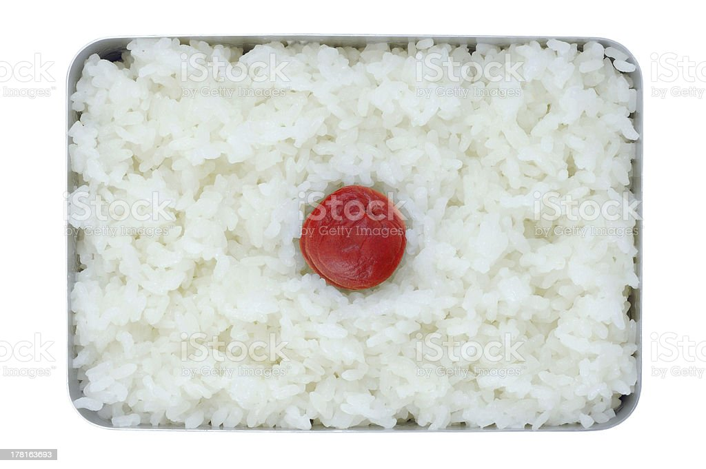 Japanese simple lunch (Hinomaru Bento) stock photo