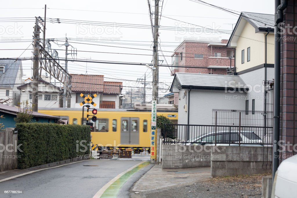 Japanese small railroad crossing stock photo