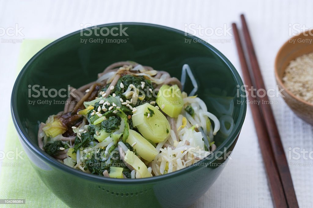 Japanese Spinach Leek Salad royalty-free stock photo