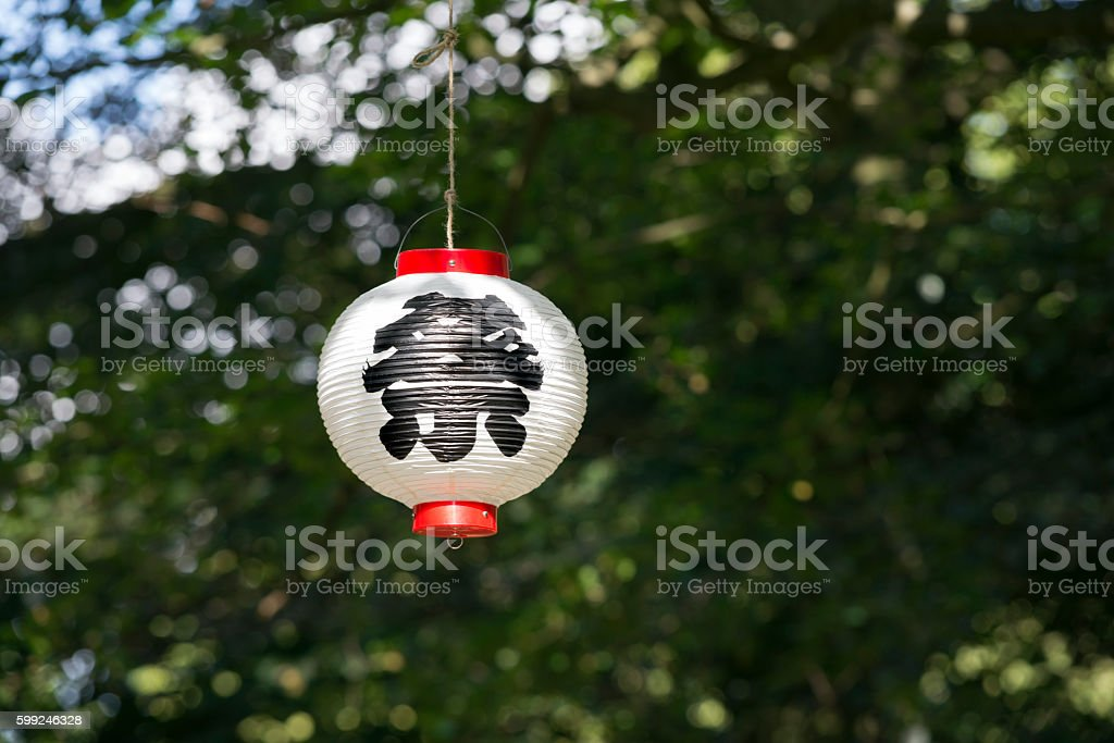 Japanese Star Festival lantern in a tree stock photo
