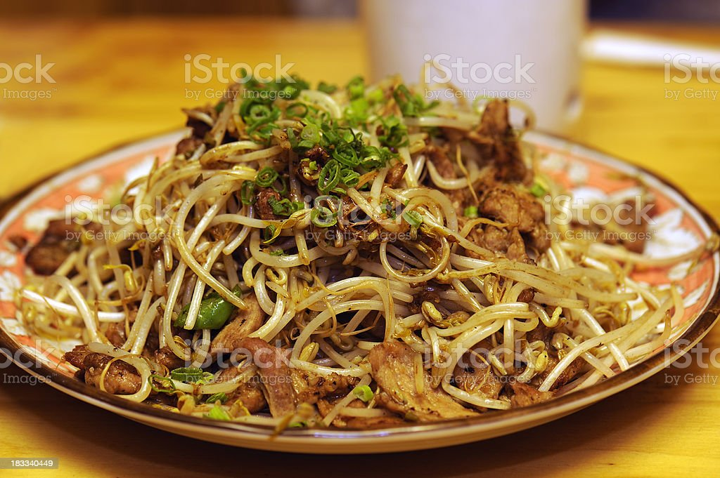 Japanese stir-fried pork with bean sprout stock photo