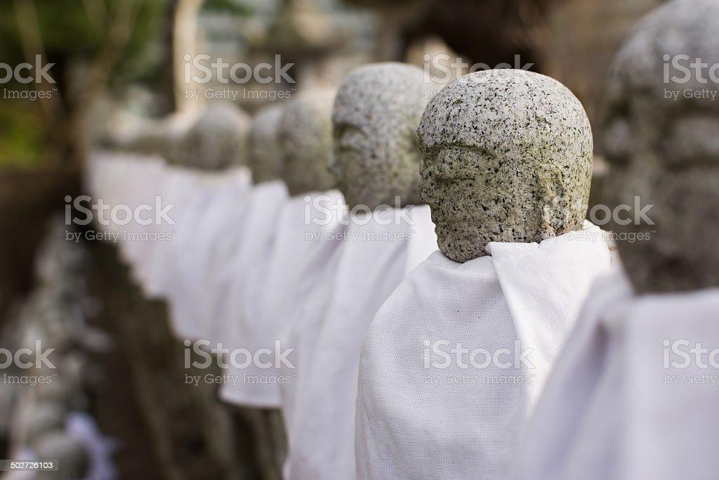 Japanese stone statue Ksitigarbha Bodhisattva stock photo