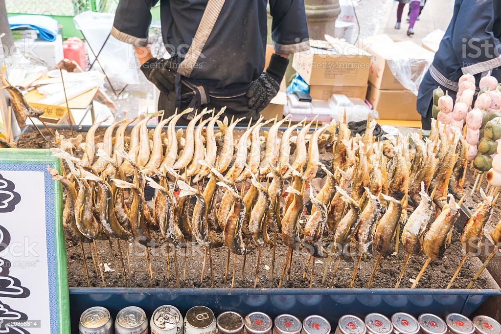 japanese street food grilled fish stock photo