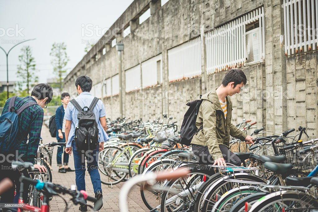 Japanese Students Using Bicycles for Commuting, Kyoto, Japan stock photo