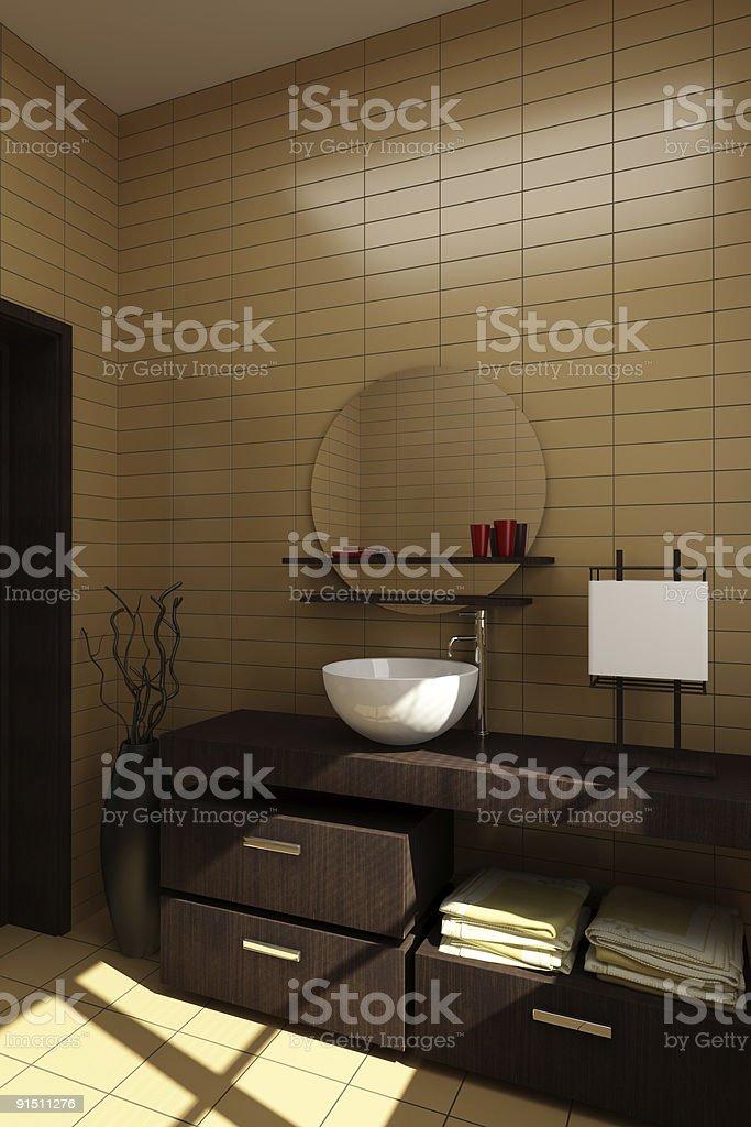 Badezimmer Im Japanischen Stil Mit Braunem Fliesen U2013 Foto