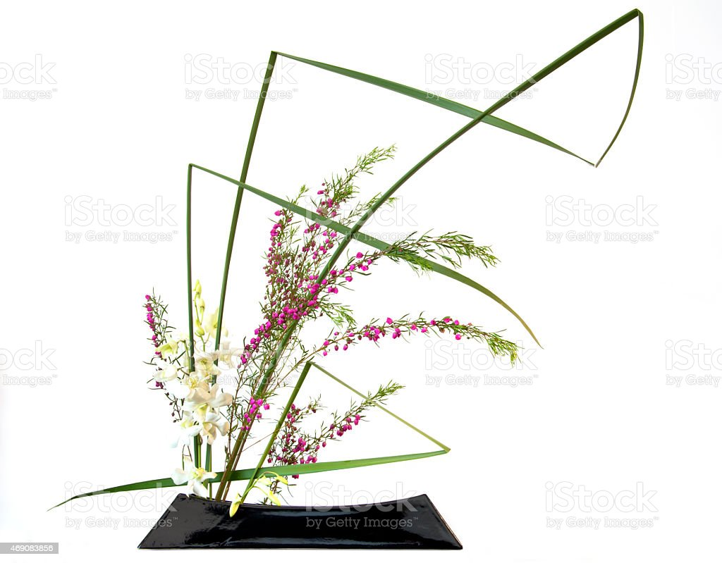 Japanese style flower arrangement ikebana stock photo