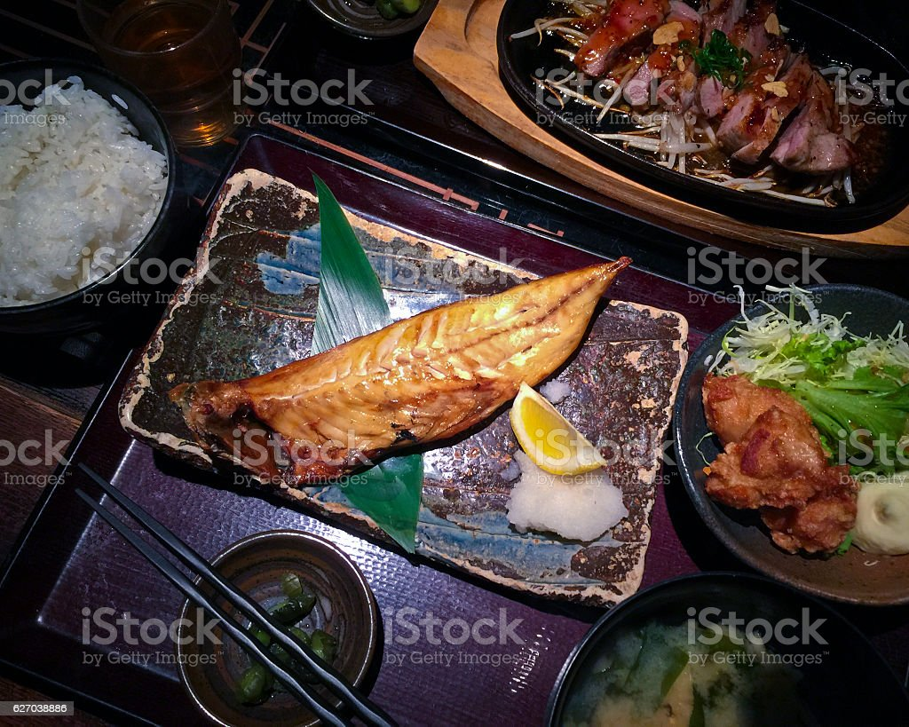 Japanese Style Lunch Meal Combo stock photo