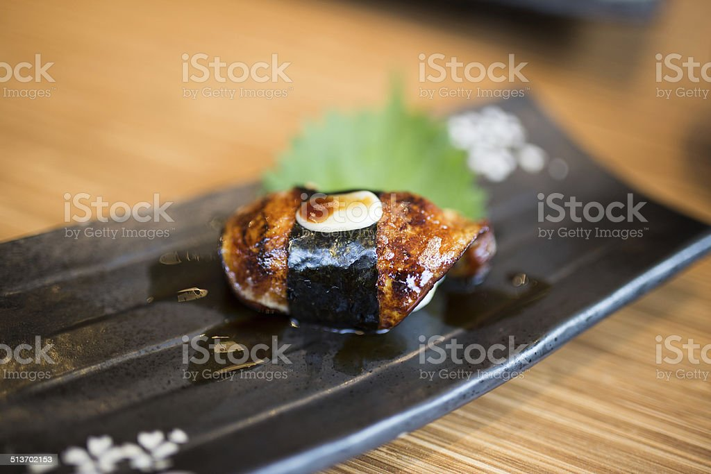 Japanese style sushi fried goose liver (Foie Gras) stock photo