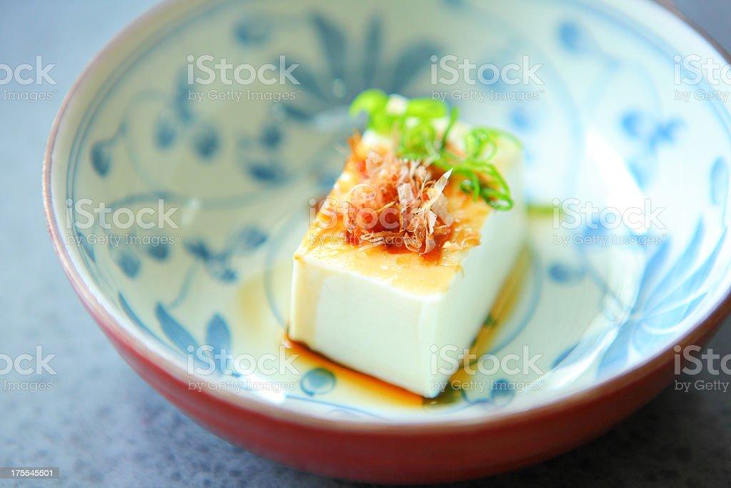 Japanese style Tofu with Sliced Dried Bonito royalty-free stock photo