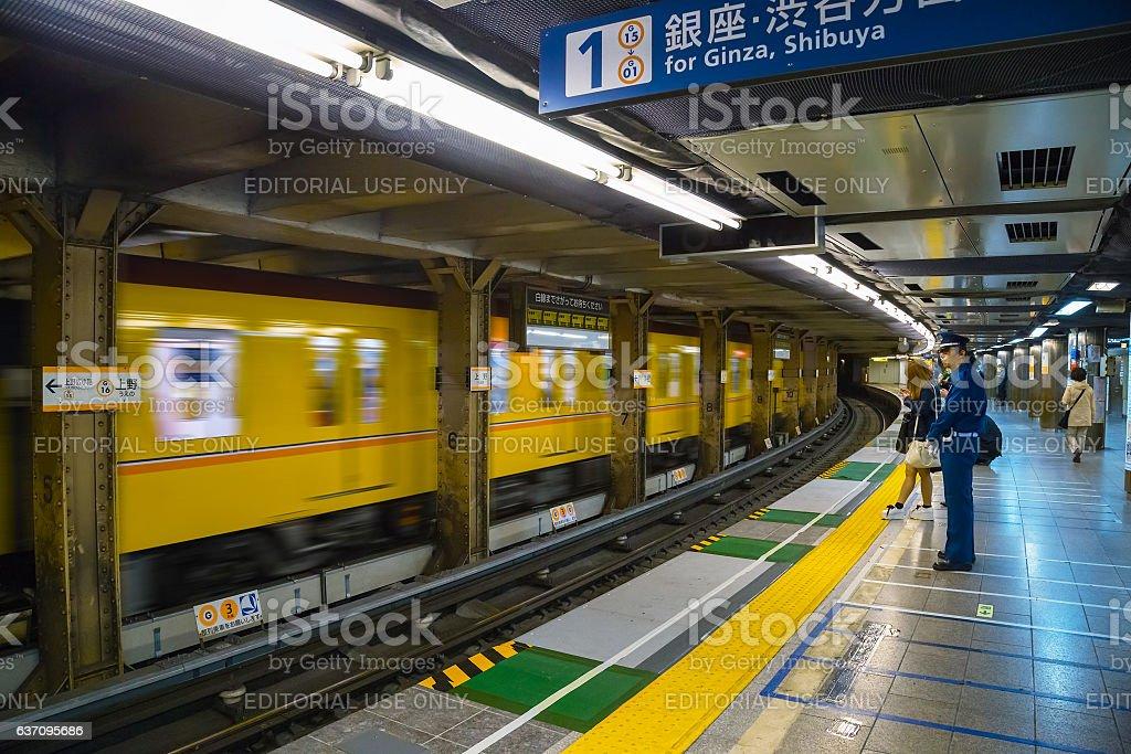 Japanese subway commuter stock photo