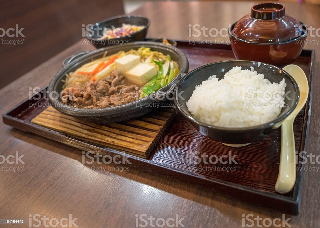 Japanese Sukiyaki Set stock photo