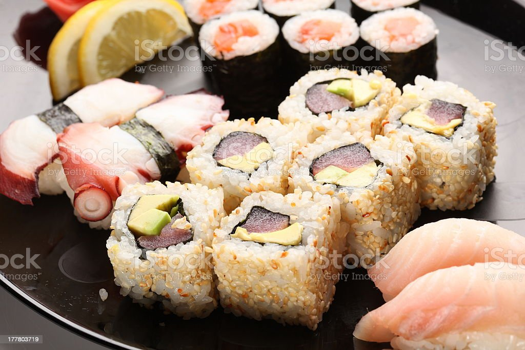Japanese sushi on a plate royalty-free stock photo
