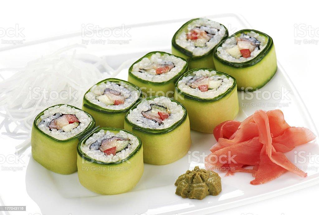 Japanese sushi rolls royalty-free stock photo