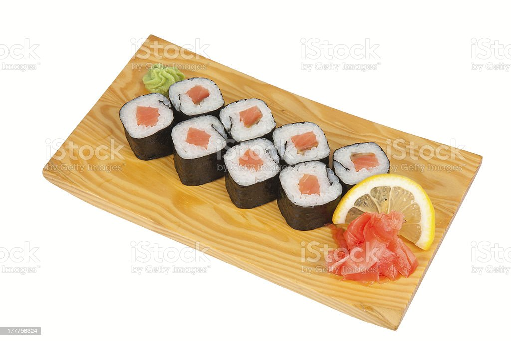 Japanese sushi rolls with salmon royalty-free stock photo