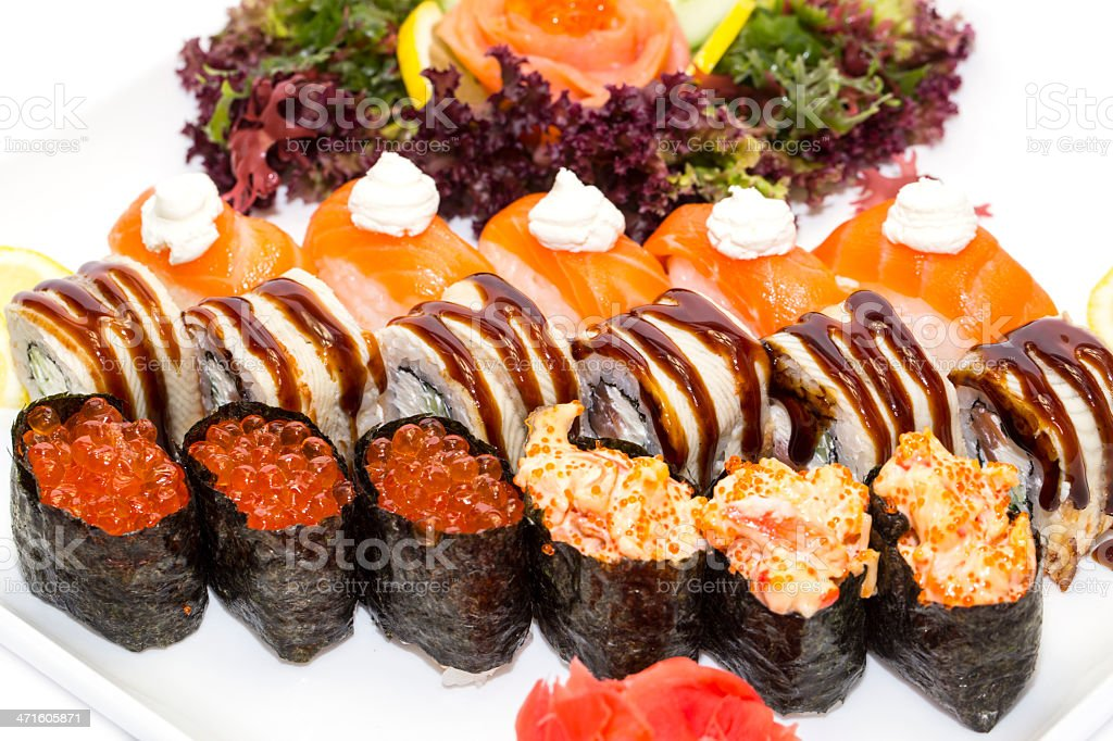 Japanese sushi seafood and vegetables royalty-free stock photo