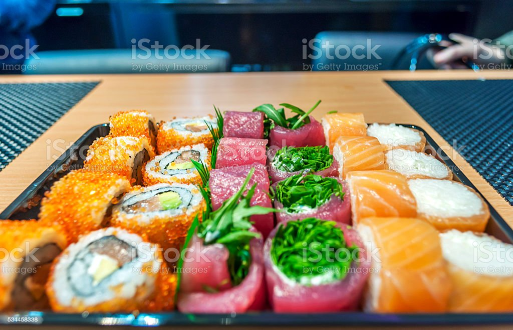 Japanese sushi seafood in fast food restaurante stock photo