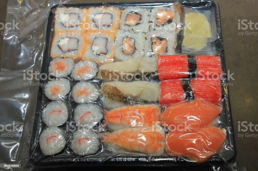 Japanese sushi, vacuum packed stock photo
