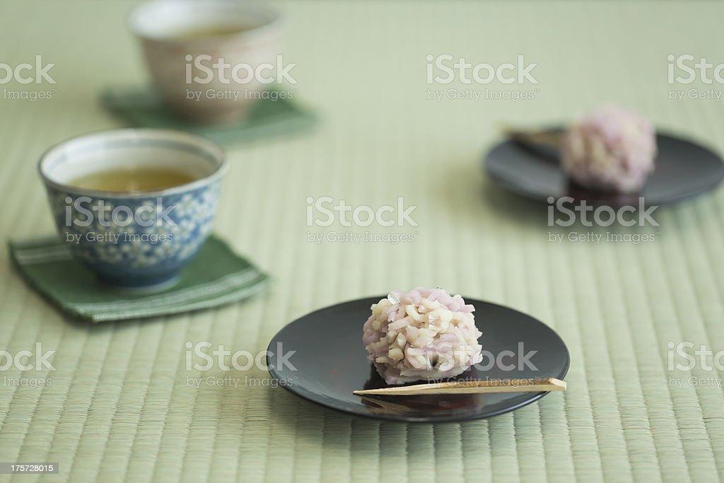 Japanese sweet and tea royalty-free stock photo