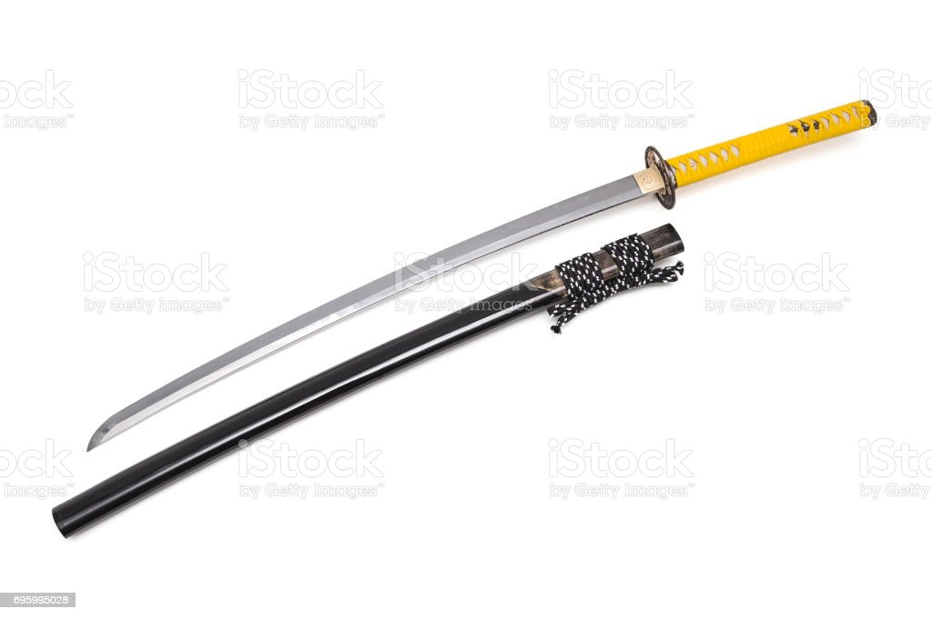 Japanese sword and scabbard on white background stock photo