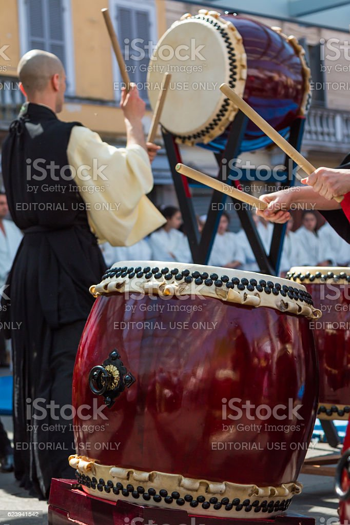 Japanese Taiko Drummer during Traditional Show stock photo