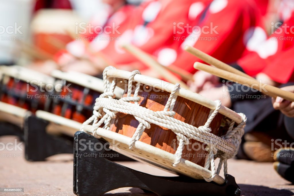 Japanese Taiko Drums Being Played stock photo