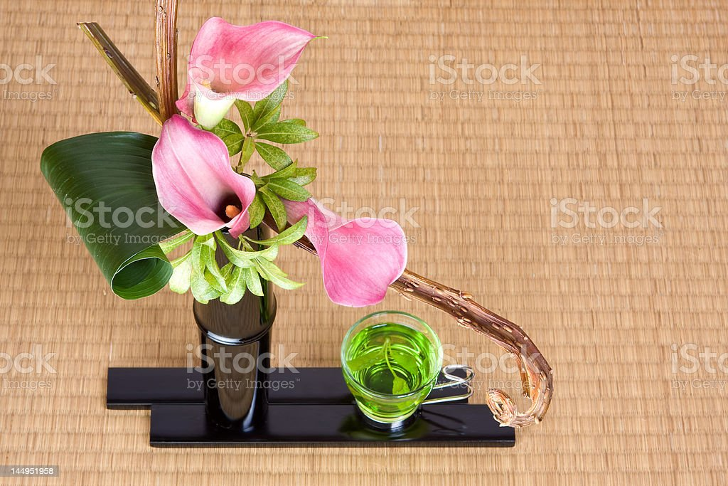 Japanese tea and ikebana stock photo