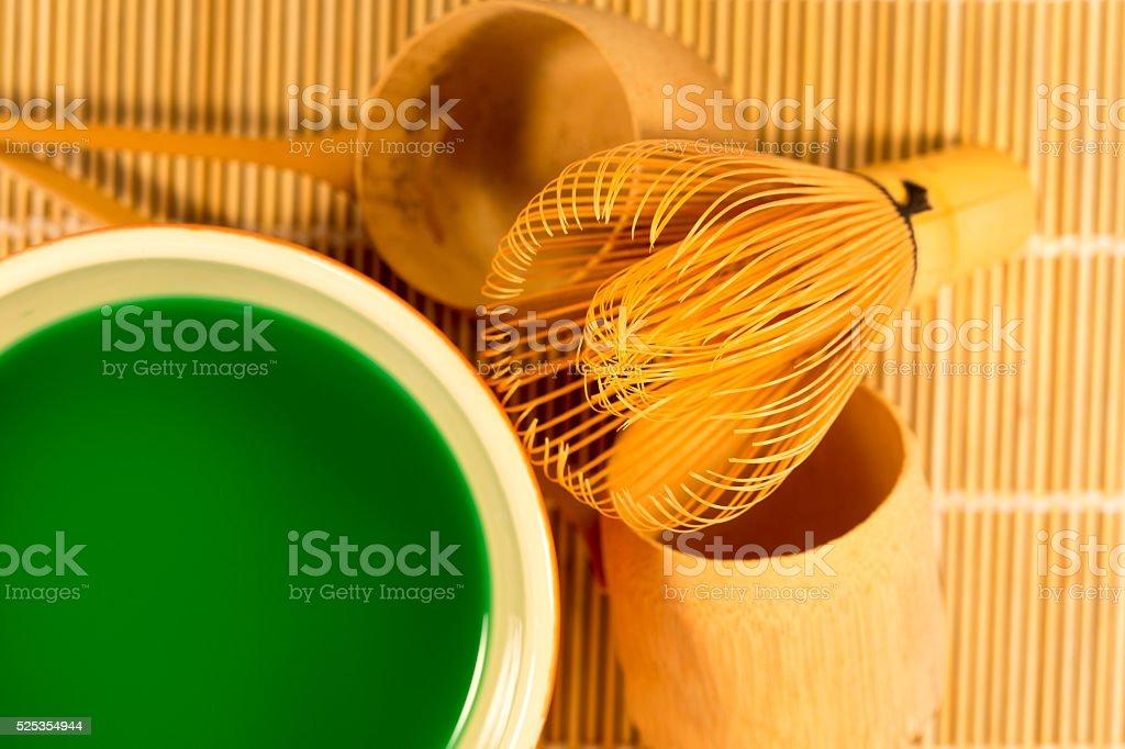 Japanese tea ceremony utensils stock photo
