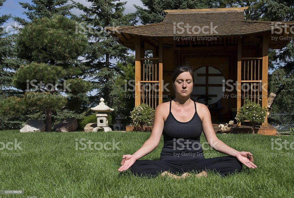 Japanese Tea House Yoga Series royalty-free stock photo