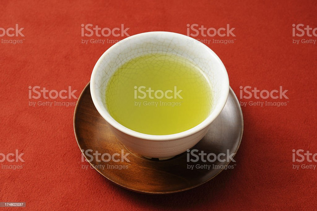 Japanese tea on red cloth background royalty-free stock photo