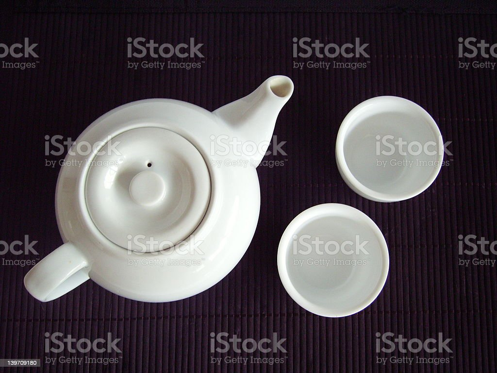 Japanese Tea Pot and Cups royalty-free stock photo