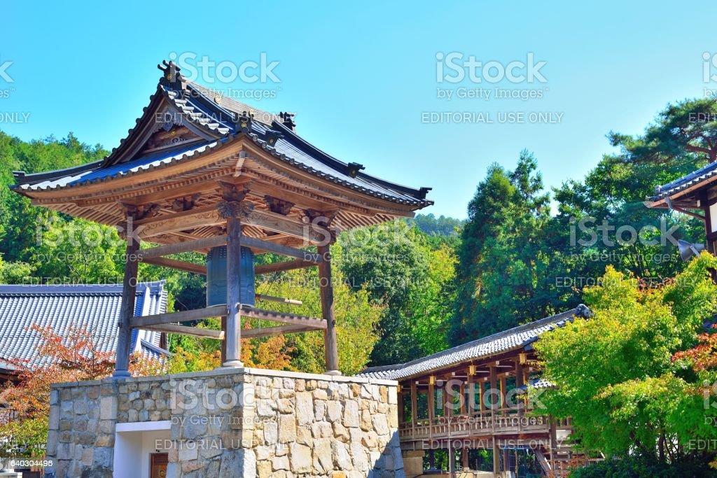 Japanese temple bell at Daikohzan Honkoku-Ji Temple. stock photo
