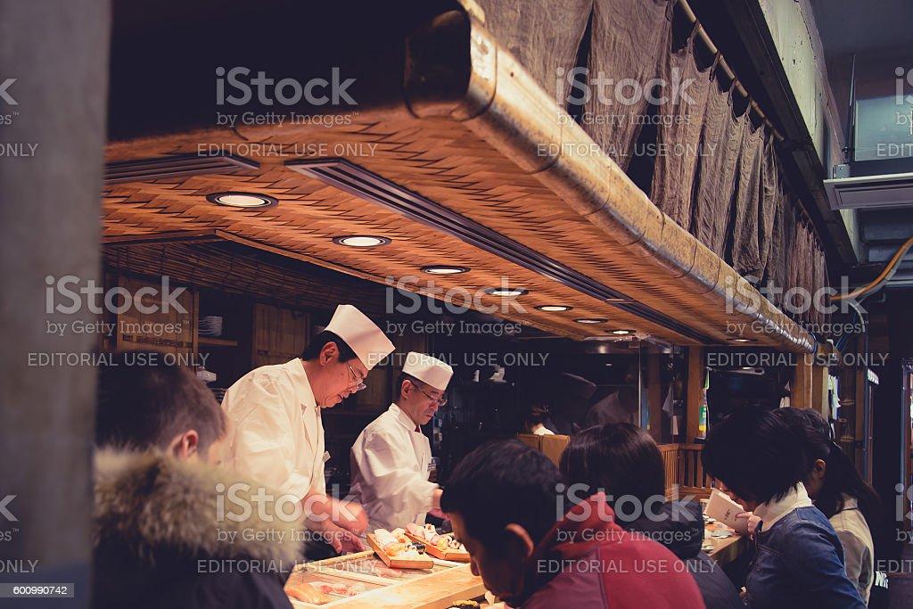Japanese tipical sushi restaurant stock photo