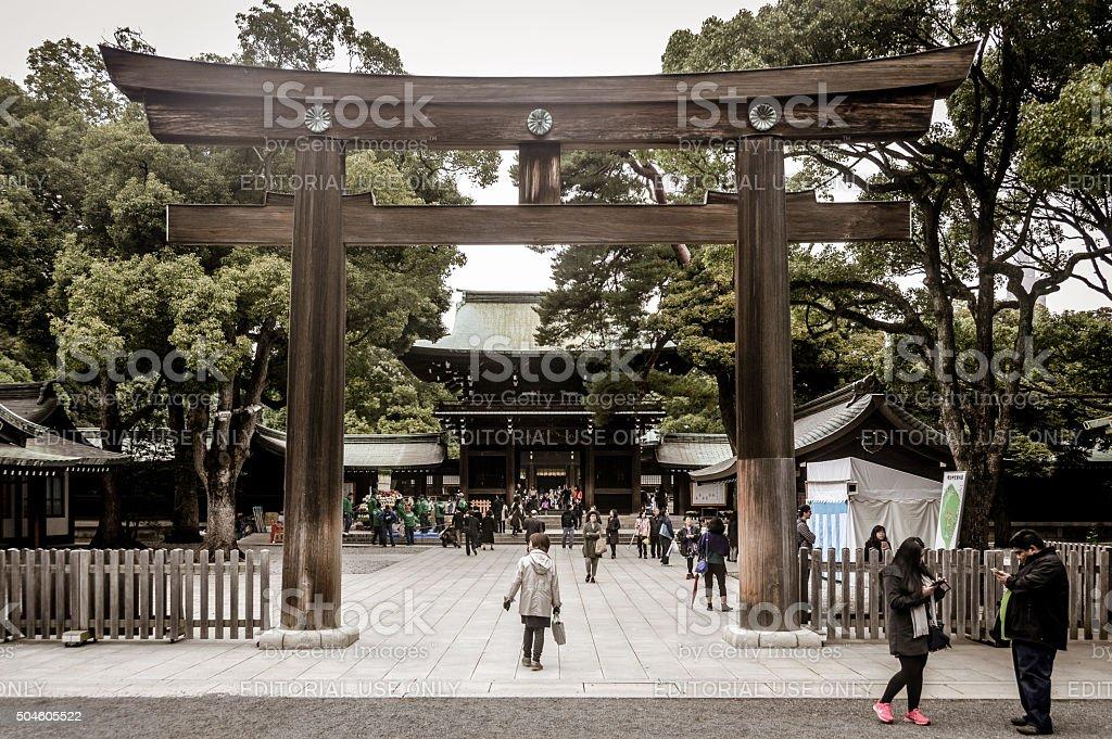Japanese Torii Gate at Meiji Jingu Shrine - Tokyo stock photo