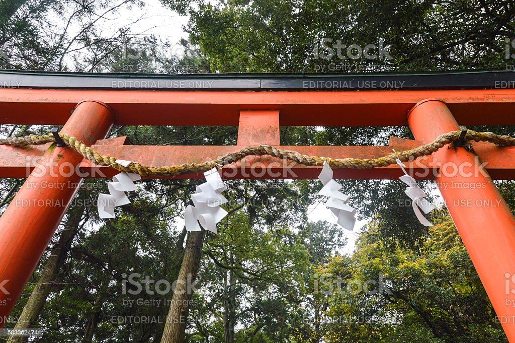 Japanese Torii Gate on hiking trail in Arashiyama  - Japan stock photo