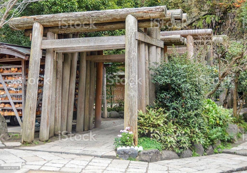 Japanese Torii Gates at Zeniarai Benten Shrine stock photo