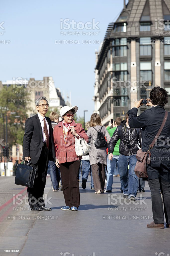 Japanese tourists in London royalty-free stock photo