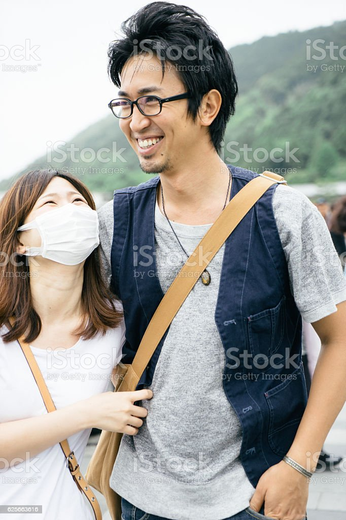 Japanese tourists walking in the countryside stock photo