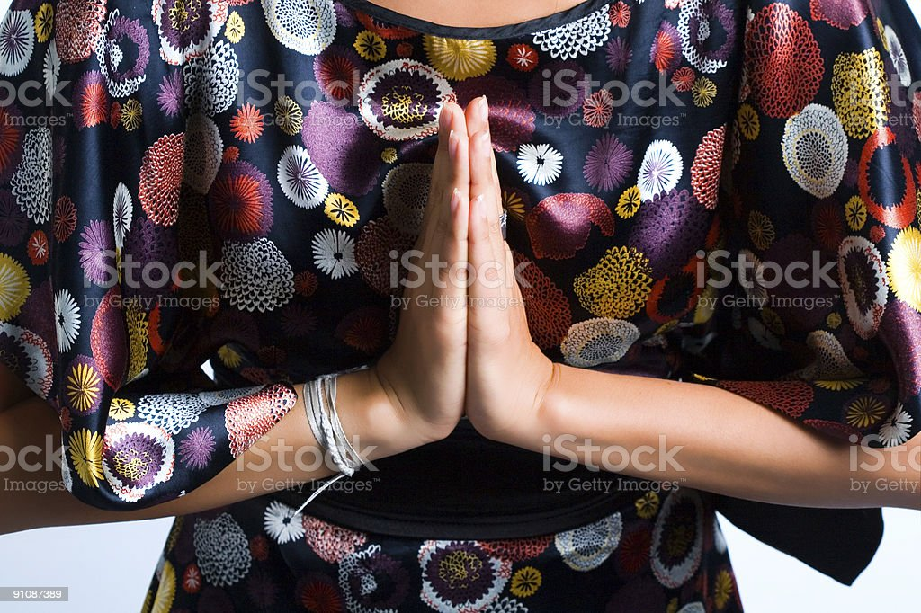 Japanese tradition of a greeting royalty-free stock photo