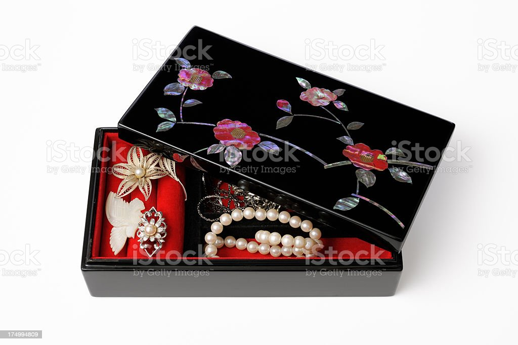 Japanese tradition red flowers decoration jewelry box with Jewel royalty-free stock photo