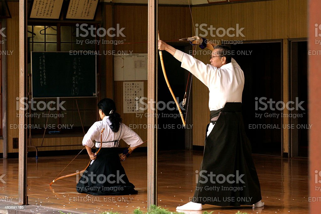 Japanese traditional archery, Kyudo stock photo