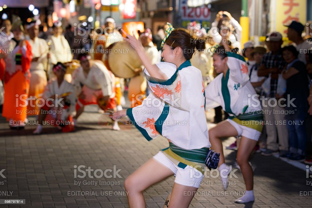 Japanese traditional Awaodori (Awa Dance) festival in Tokyo, Japan stock photo