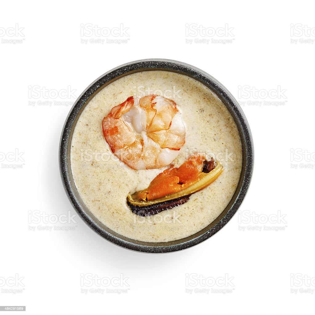 japanese traditional cream soup with seafood on a white backgrou royalty-free stock photo