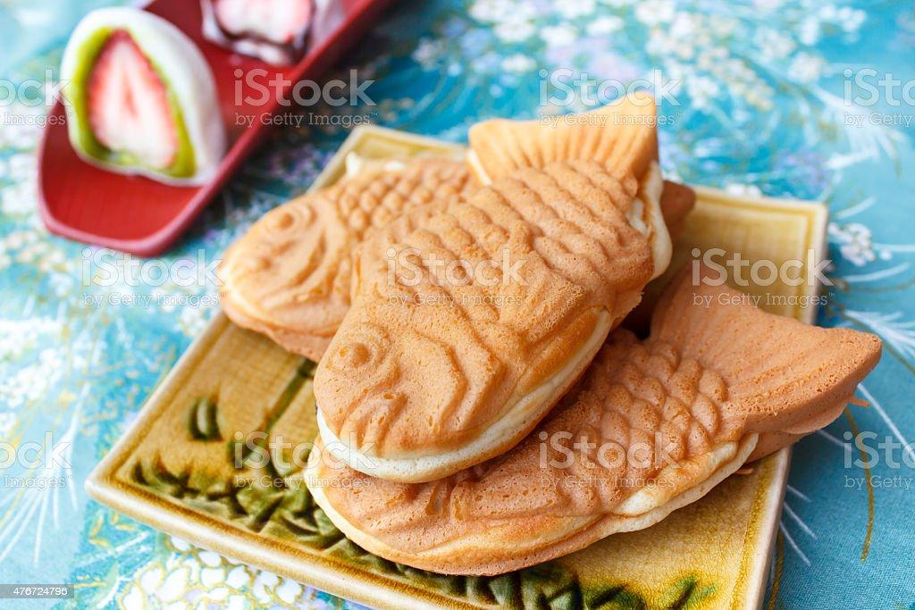 Japanese traditional fish-shaped cake, Taiyaki. stock photo