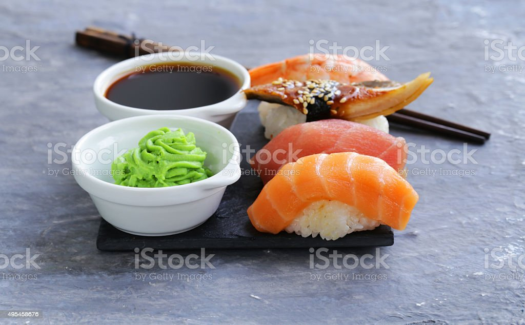Japanese traditional food sushi with salmon, tuna and shrimp stock photo