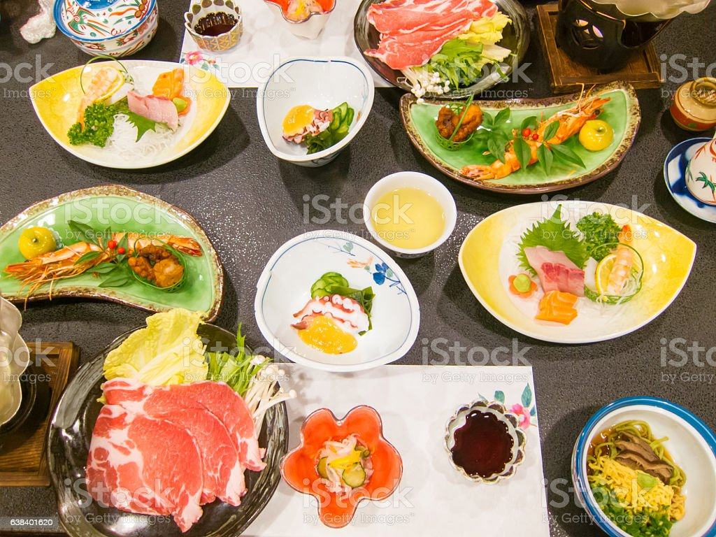 Japanese traditional full-course meal stock photo